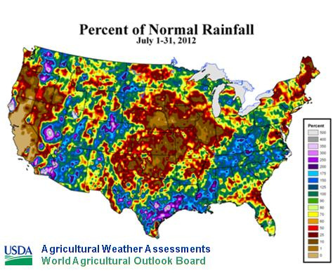 USDA Rainfall Map 2012